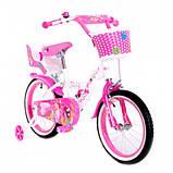 Детский двухколесный велосипед с корзинкой и багажником Little Queen 20 дюймов для девочки 7-11 лет Розовый, фото 4