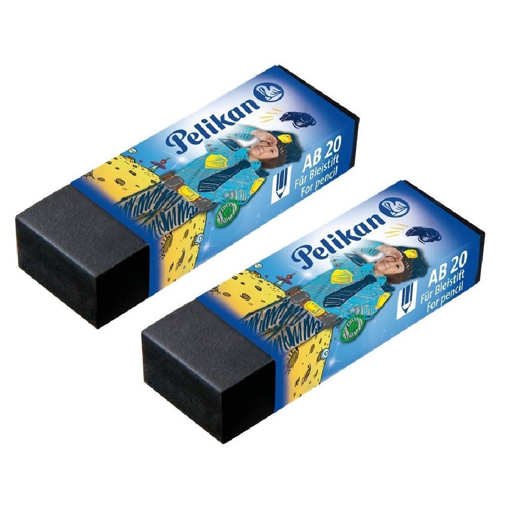 Ластики для карандаша Pelikan AB20 Boy чорные 2 шт/уп