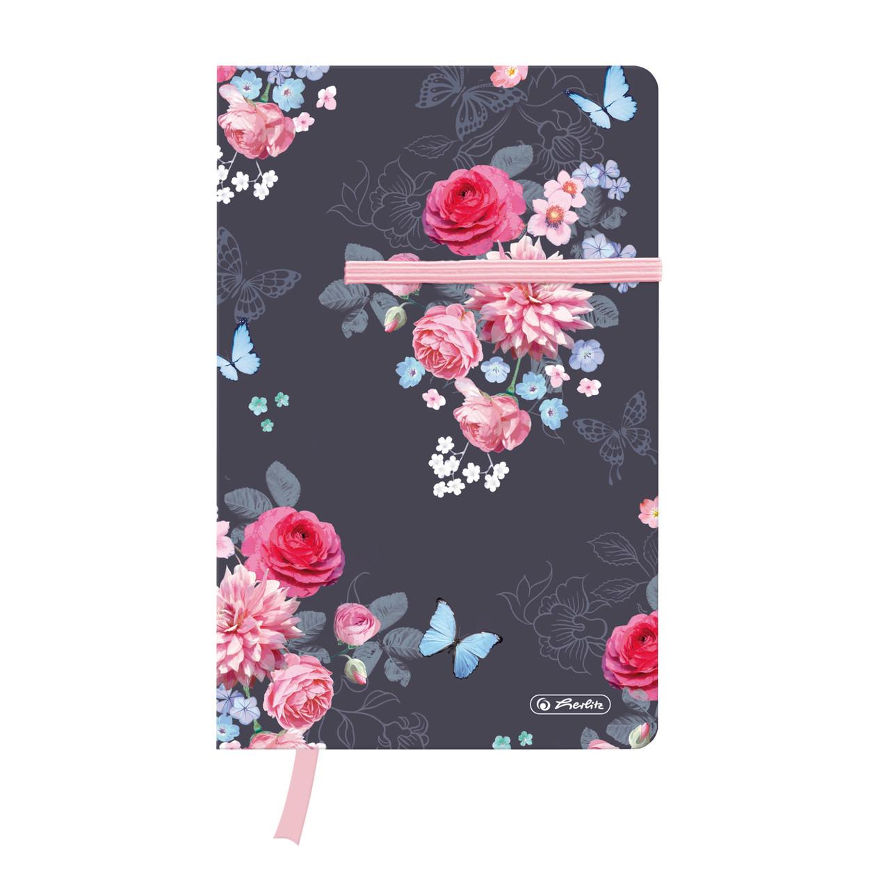 Записная книга Herlitz А5 88 листов клетка Ladylike Flowers