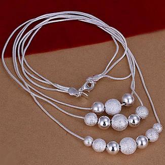 """Намисто стильне жіноче з кульками """"Магія куль"""" покриття срібло, фото 2"""