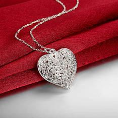 """Кулон жіночий ажурне серце """"Solari"""" покриття срібло 925"""