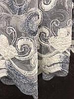 Стильный молочный тюль из фатина с вышивкой серого и молочного цвета на метраж, высота 3 м, фото 2