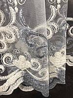 Стильный молочный тюль из фатина с вышивкой серого и молочного цвета на метраж, высота 3 м, фото 7