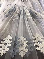 Стильный молочный тюль из фатина с вышивкой серого и молочного цвета на метраж, высота 3 м, фото 8