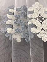 Стильный молочный тюль из фатина с вышивкой серого и молочного цвета на метраж, высота 3 м, фото 3