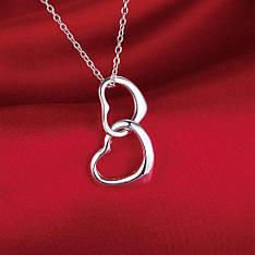 """Кулон для дівчини два серця """"Tiamo"""" покриття срібло"""