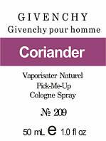 Масляная парфюмерия на разлив для мужчин 209 «Givenchy pour Homme Givenchy»