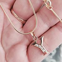 Кулон буква Y с цепочкой снейк 1мм 50см xuping медицинское золото позолота 18К  5297
