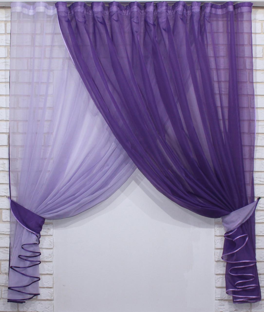 """Кухонный комплект (330х170см), шторки с подвязками """"Дует"""" Цвет фиолетовый с сиреневым. № 060к 50-143"""