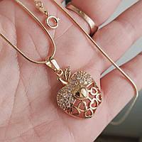 Кулон яблоко с цепочкой снейк 1мм 50см xuping медицинское золото позолота 18К  5299