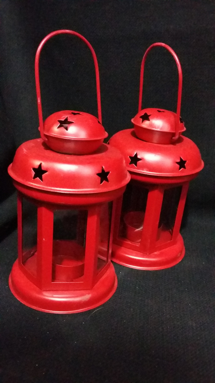 Фонарик для свечи красный, в-15 см, 140/120 (цена за 1 шт. + 20 гр.)