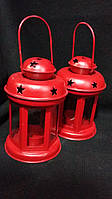 Фонарик для свечи красный, в-15 см, 140/120 (цена за 1 шт. + 20 гр.), фото 1
