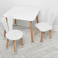 """Детский деревянный столик и два стульчика """"Зайка"""" 04-025W+1 Белый"""