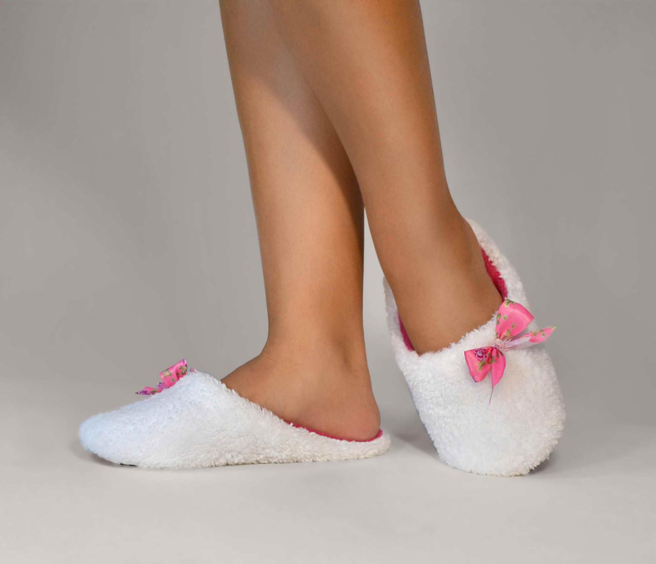 """Тапочки - шльопанці th 03 """"White"""" з рожевим"""