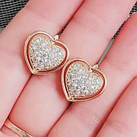 Серьги сердце Xuping позолота 18К длина 1.5см медицинское золото позолота 18К цирконий с1149, фото 1