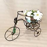 Подставка для цветов кованая Велоcипед Мальва черный/золото, фото 3