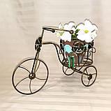 Подставка для цветов кованая Велоcипед Мальва черный/золото, фото 4
