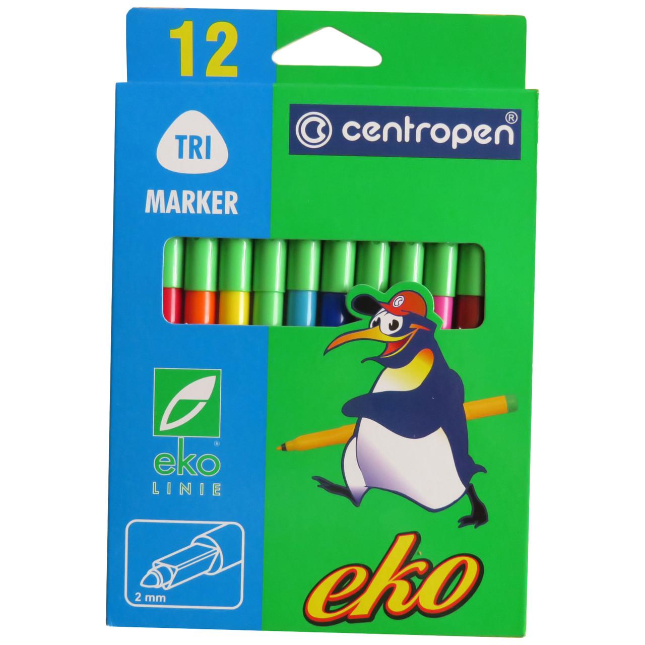 Фломастеры Centropen Eko 2560/12, смываемые чернила, треугольная форма, 12 цветов
