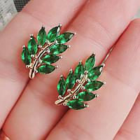 Сережки Xuping 2см медичне золото позолота 18К зелений цирконій с1209