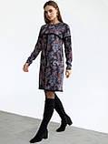 Повседневное платьетрапеция с контрастной тесьмой на полочке и рукавах, фото 5