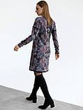 Повседневное платьетрапеция с контрастной тесьмой на полочке и рукавах, фото 6