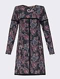 Повседневное платьетрапеция с контрастной тесьмой на полочке и рукавах, фото 7