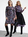 Повседневное платьетрапеция с контрастной тесьмой на полочке и рукавах, фото 4
