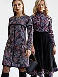 Повседневное платьетрапеция с контрастной тесьмой на полочке и рукавах, фото 3