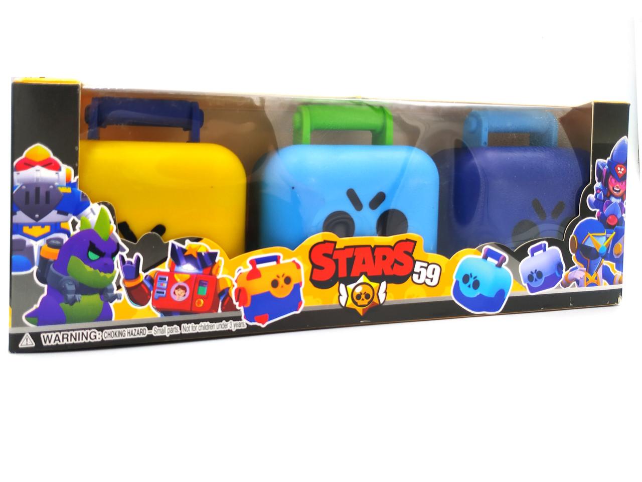 Фигурки Бравл Старс в чемоданчике Brawl Stars 3 в 1 (желтый, голубой, фиолетовый)