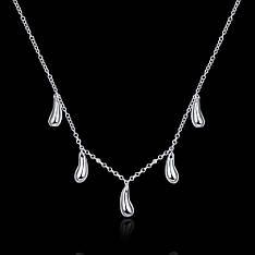 Жіноче кольє на шию Краплі на тонкому ланцюжку покриття срібло 925