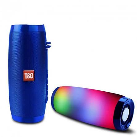 Портативная bluetooth колонка T&G TG-157 с подсветкой, синяя, фото 2
