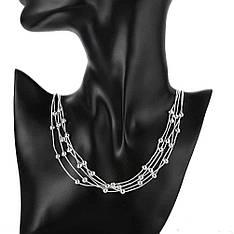 """Намисто жіночі срібні нитки """"Amore"""" покриття срібло"""