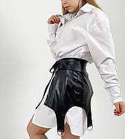 Сукня двійка - біле плаття сорочка і чорна шкіряна спідниця (р. S - L) 5PL2065, фото 1