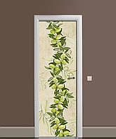 Вінілова наклейка на двері Оливки гілки маслини ПВХ плівка з ламінуванням 65*200см Їжа Зелений