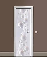 Вінілові наклейки на двері Білі глянцеві сфери ПВХ плівка з ламінуванням 65*200см Геометрія Білий