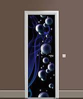 Декор двері Наклейка вінілова Глянцеві сфери бульбашки ПВХ плівка з ламінуванням 65*200см Абстракція Синій