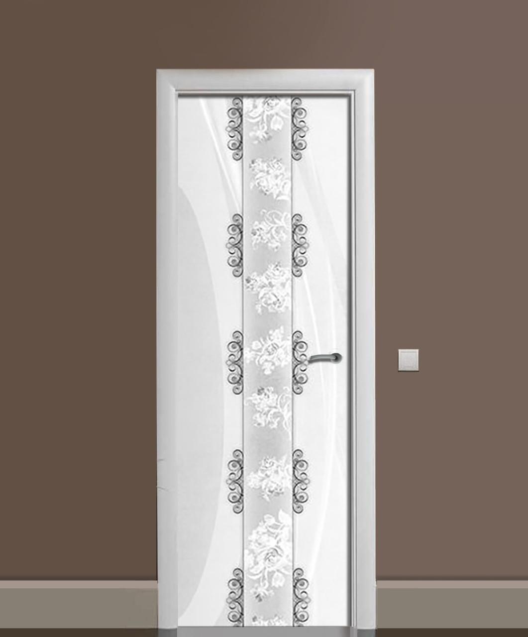 Декоративна наклейка на двері Візерунки Орнамент ПВХ плівка з ламінуванням 65*200см Абстракція Сірий