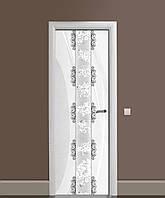 Декоративная наклейка на двери Узоры Орнамент ПВХ пленка с ламинацией 65*200см Абстракция Серый