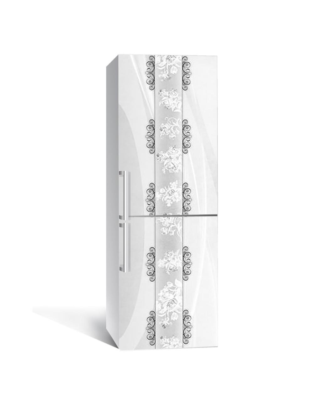 Декор 3Д наклейка на холодильник Візерунки Орнамент (плівка ПВХ з ламінуванням) 65*200см Абстракція Сірий