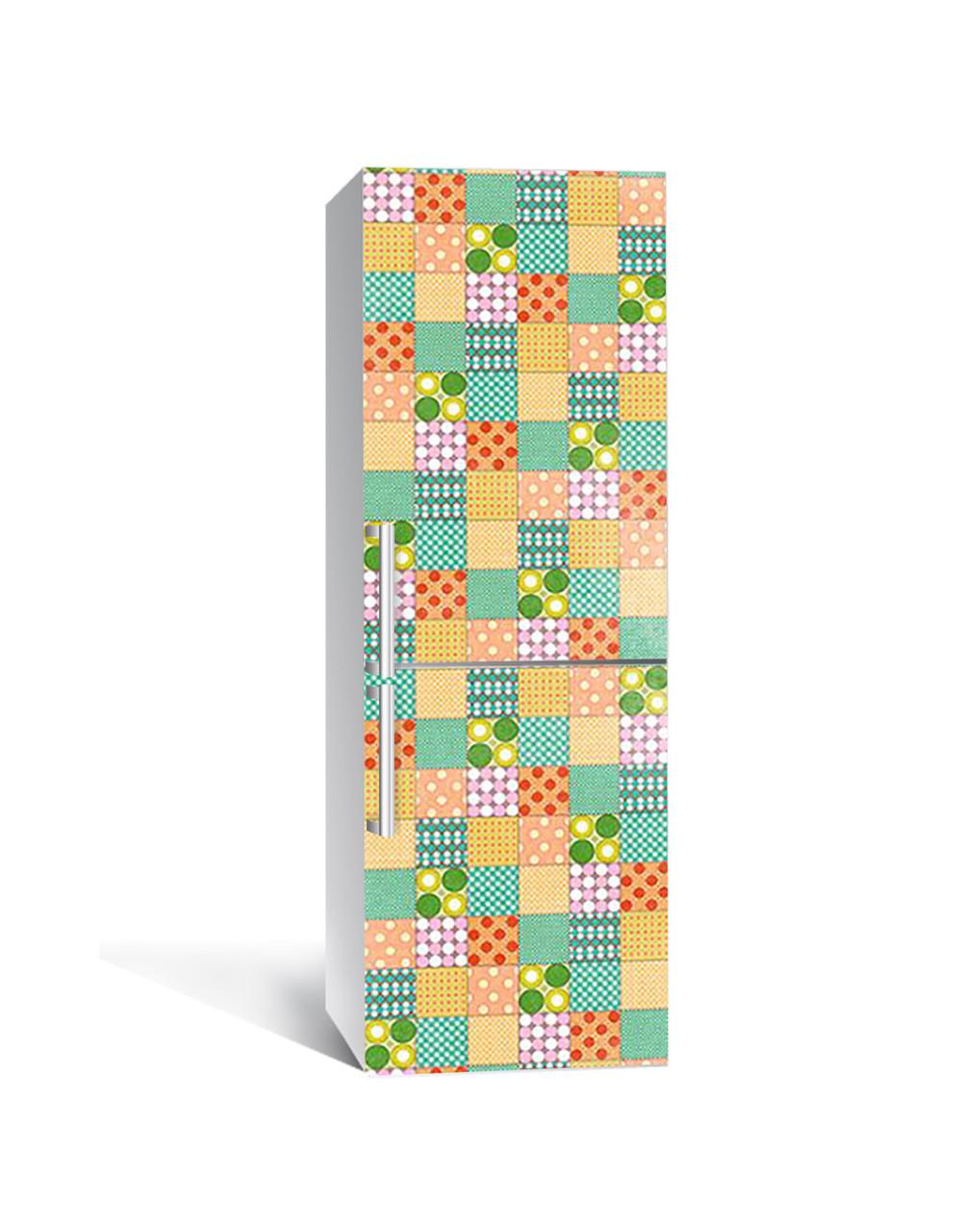 Вінілова 3Д наклейка на холодильник Печворк Квадрати (плівка ПВХ фотодрук) 65*200см Геометрія Зелений