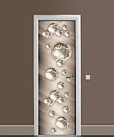 Декор двери Наклейка виниловая Стальные пузыри шары сферы ПВХ пленка с ламинацией 65*200см Абстракция Серый
