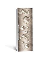 Наклейка на холодильник Сталеві бульбашки кулі сфери (плівка ПВХ фотодрук) 65*200см Абстракція Сірий