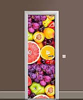 Декор двері Наклейка вінілова Соковиті Ягоди Цитрусові ПВХ плівка з ламінуванням 65*200см Фрукти Помаранчевий