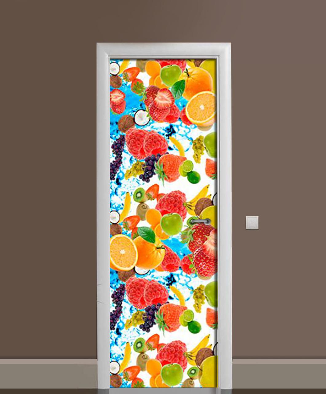 Виниловая наклейка на дверь Фруктовый взрыв ПВХ пленка с ламинацией 65*200см Фрукты Оранжевый