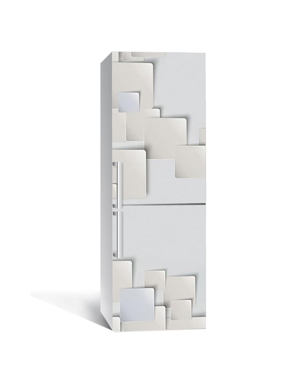 Наклейка на холодильник Паперові листи 3Д квадрати (плівка ПВХ фотодрук) 65*200см Абстракція Сірий