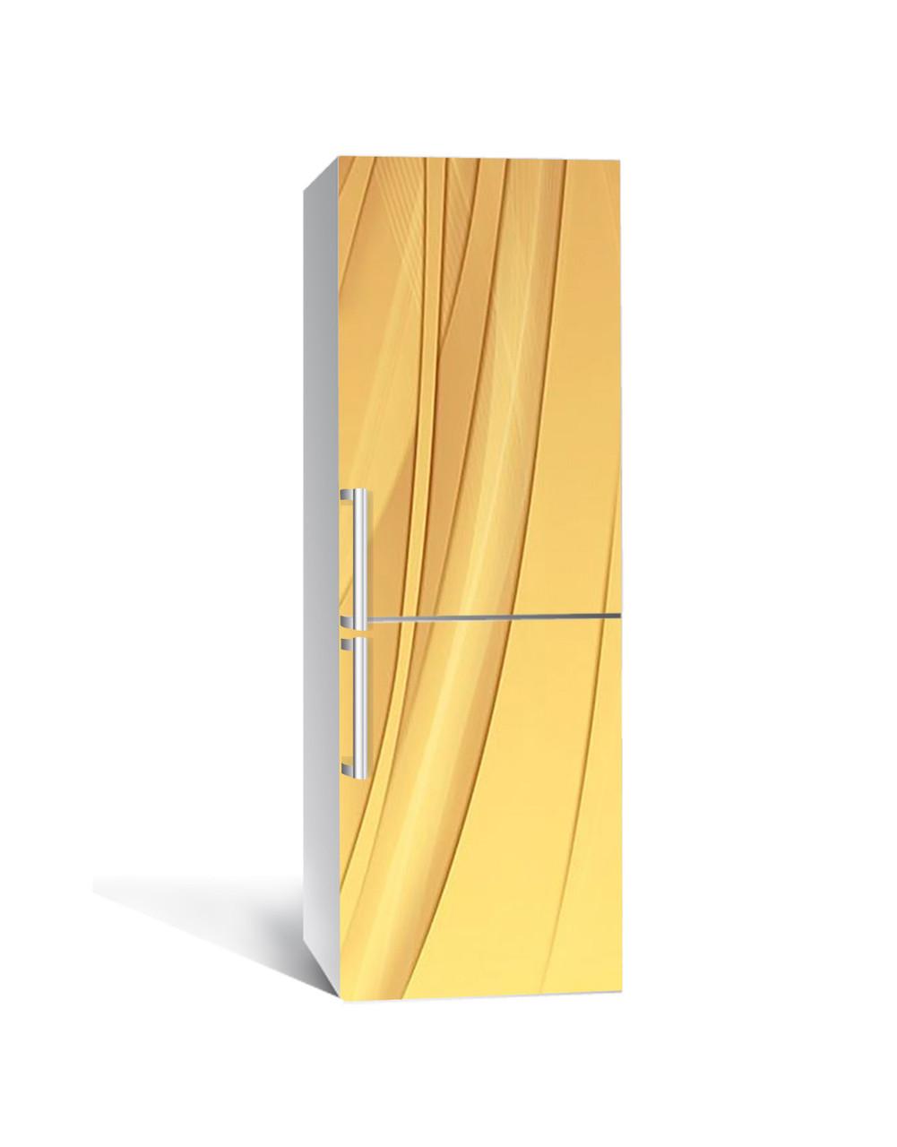 Виниловая 3Д наклейка на холодильник Караваны в пустыне (пленка ПВХ фотопечать) 65*200см Абстракция Желтый