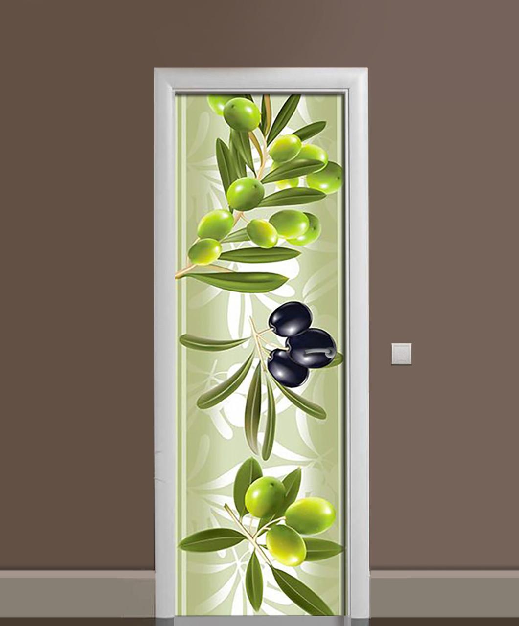 Декоративна наклейка на двері 3d Оливки Маслини ПВХ плівка з ламінуванням 65*200см Ягоди Зелений
