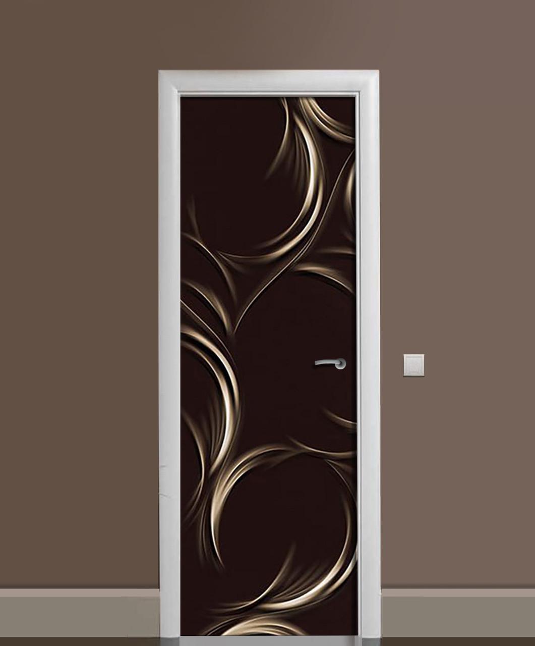 Виниловая наклейка на дверь Завитки на темном фоне ПВХ пленка с ламинацией 65*200см Абстракция Черный
