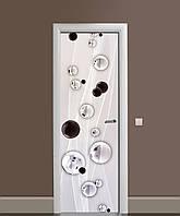 Декоративна наклейка на двері Чорно-білі краплі Сфери ПВХ плівка з ламінуванням 65*200см Абстракція Сірий