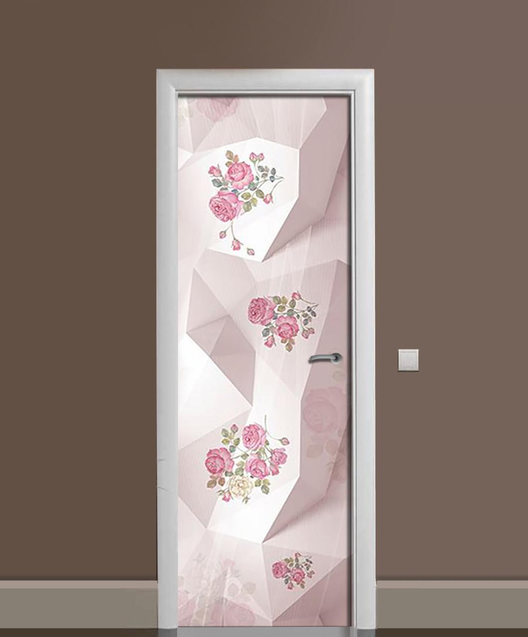 Вінілова наклейка на двері Троянди Преломление ПВХ плівка з ламінуванням 65*200см Абстракція Рожевий